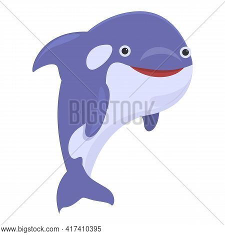 Wave Killer Whale Icon. Cartoon Of Wave Killer Whale Vector Icon For Web Design Isolated On White Ba