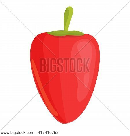 Garden Red Paprica Icon. Cartoon Of Garden Red Paprica Vector Icon For Web Design Isolated On White