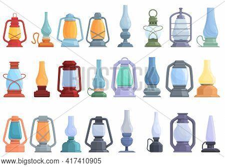 Kerosene Icons Set. Cartoon Set Of Kerosene Vector Icons For Web Design