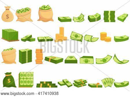 Bank Cash Icons Set. Cartoon Set Of Bank Cash Vector Icons For Web Design