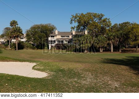 Wild Dunes Resort, South Carolina, Usa - April 5, 2021. Golf Course Section, Wild Dunes Resort, Isle