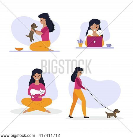 The Girl Spends Time With Her Pet.