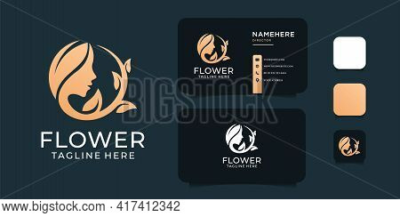Woman Beauty Hair Salon Logo Design With Business Card Template. Logo Can Be Used For Icon, Brand, I