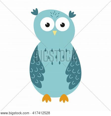 Cute Owl In The Style Of Doodle Blue Color. Owl For A Children's Poster.