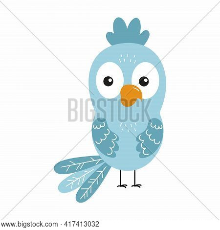 Funny Parrot With Big Eyes. A Funny Bird For Printing A Children's Poster Or Postcard.