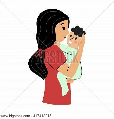 Happy Mom Hugs Her Baby. Mom Holds The Baby In Her Arms. Mother And Baby. Vector Character In A Flat
