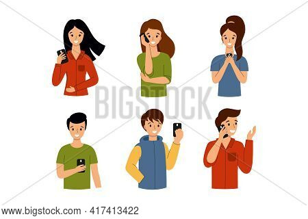 People Talk On Their Smartphones And Send Messages. A Man And A Woman With A Phone In Their Hands.