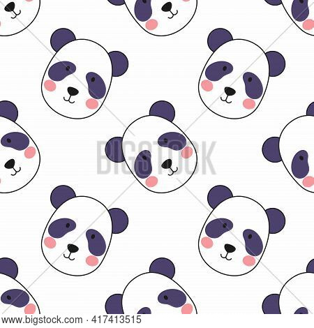 Cute Panda Face On White Background. Seamless Pattern For Sewing Clothes And Printing On Fabric. Wal