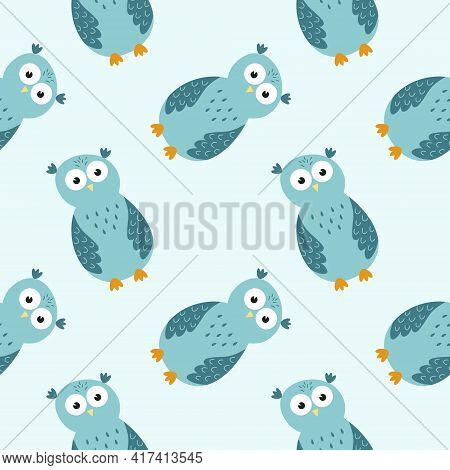 Endless Background With Cute Owls. Blue Seamless Pattern With An Owl For A Boy. Colors For Printing