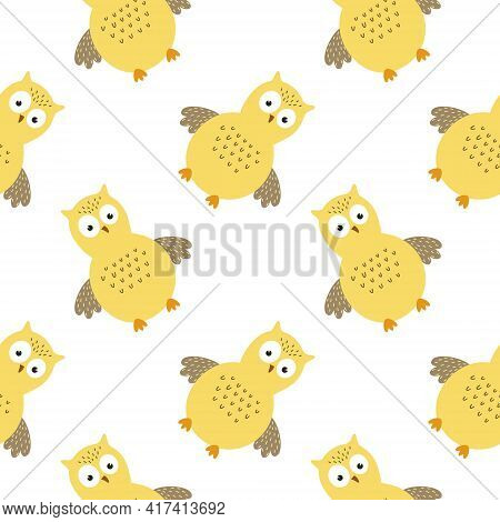 A Seamless Pattern With A Cute Yellow Owl. Background For Sewing Children's Clothing, Printing On Fa