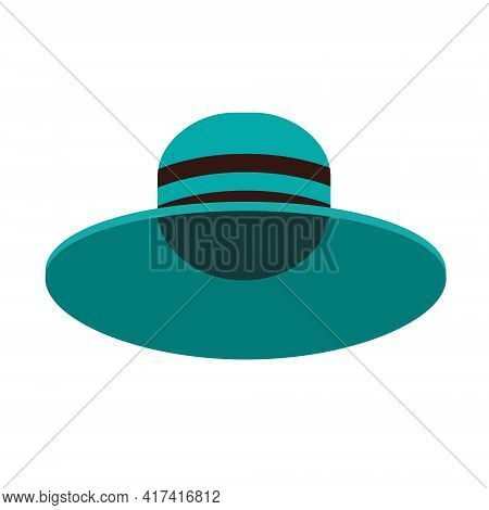 A Blue Hat With A Wide Brim. Summer Headdress. A Wide-brimmed Hat. Vector Illustration In A Flat Car