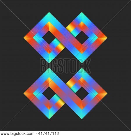 Infinite Logo Mockup Colorful 3d Two Rhombuses Geometric Shape, Bright Gradient Infinity Loop Tech S
