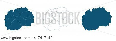 Macedonia Map On Gray Background Vector, Macedonia Map Outline Shape Gray On White Vector Illustrati
