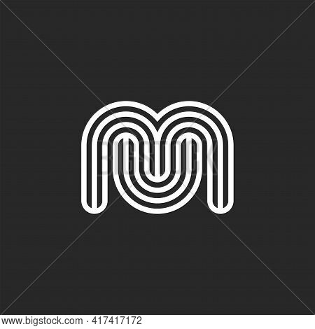 Initials Mu Or Um Letters Logo Monogram Smooth Shapes, Black And White Think Rounded Lines, Minimal