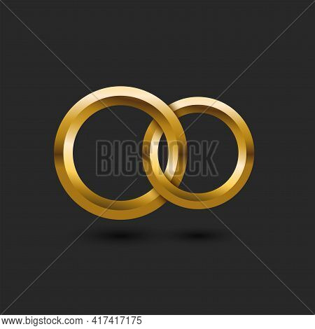Two Gold Wedding Rings 3d In The Shape Of Infinity On A Black Background Wedding Card Mockup, Intert