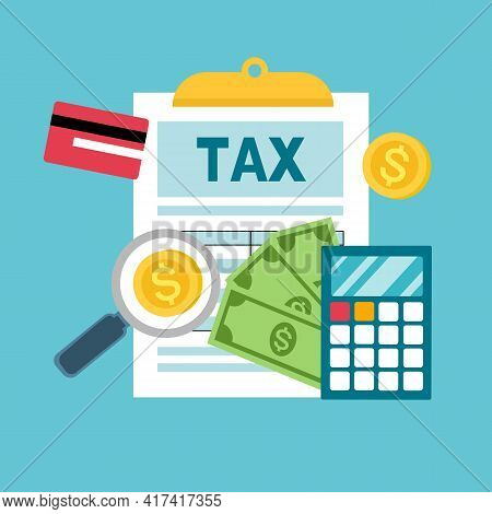 Tax Consulting Service. Tax Payment Concept. Document, Calculator, Credit Card, Dollar Coins And Ban