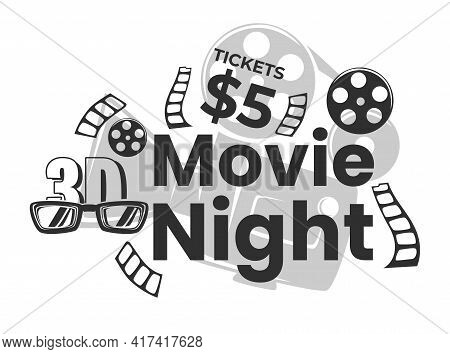 Movie Night, Admission And Buying Tickets Vector