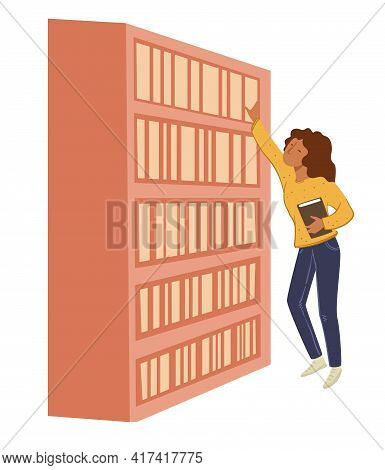 Woman Looking For Book In Bookcase Store Library