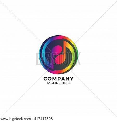 Circular Thunder Musical Note Logo Design Template. Yinyang Logo Concept With Black Ellipse Shape Be