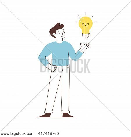 Man Points A Light Bulb. Isolated On White Background. New, Creative Or Innovation Idea. Vector Flat