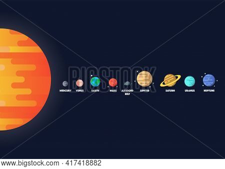 Set Of Star And Planets On Galaxy Background. Solar System. Flat Style Vector Illustration