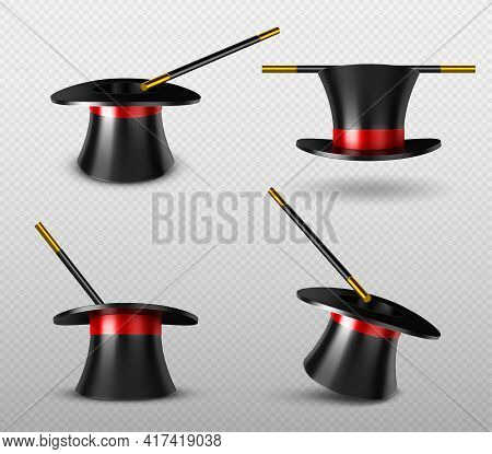 Magician Hat And Magic Wand For Circus Show. Illusionist Black Cylinder And Golden Stick For Tricks