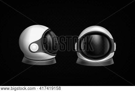 Astronaut Helmet, Cosmonaut Space Suit Front And Side View Isolated On Black Background. Pilot Costu