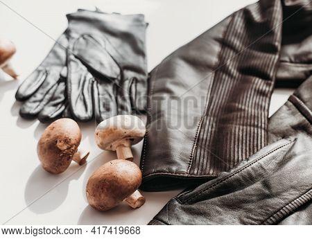 Mycelium Leather, Bio Based Sustainable Alternative Leather Made Of Mushrooms. Plant Textile. Jacket
