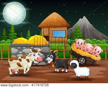 Night Landscape With Animals In The Farmland Illustration