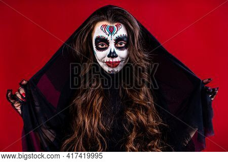 1st And 2nd November Celebration Of Day Of The Dead In Mexico Concept Woman With Grimm Skull Face An