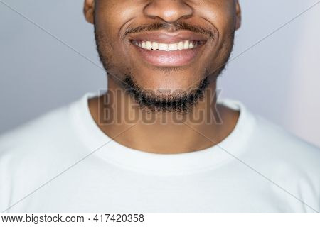 Tooth Care. Dental Hygiene. Oral Health. Wellbeing Selfcare. Perfect Smile On Happy African Man Face