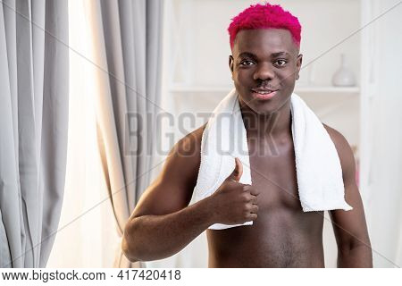 Sexy Black Man. Morning Routine. Good Choice. Treatment Care. Smiling Metrosexual Shirtless African