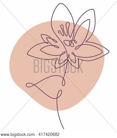 Minimalist Flower Drawn In Continuous Line Art