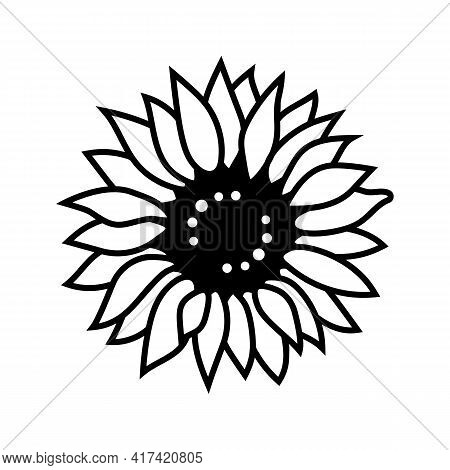 Sunflower Icon Thin Line Style, Sunflower For Cutting And Printing. Flower Vector Icon
