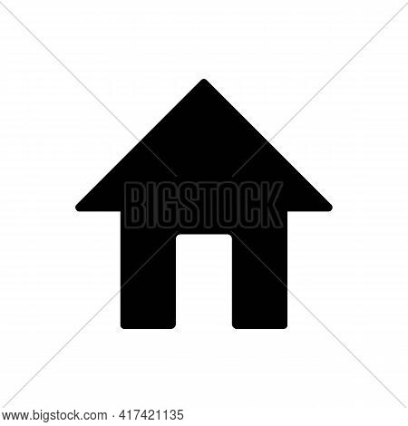 Home Or House Page Thin Line Icon In Solid Black. Return To Home Page. Trendy Flat Style Isolated Sy