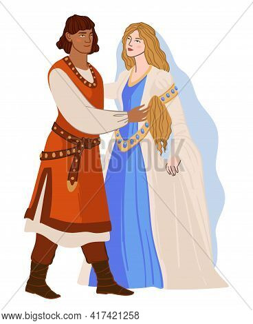 Man And Woman In Love, Romanesque Couple Vector