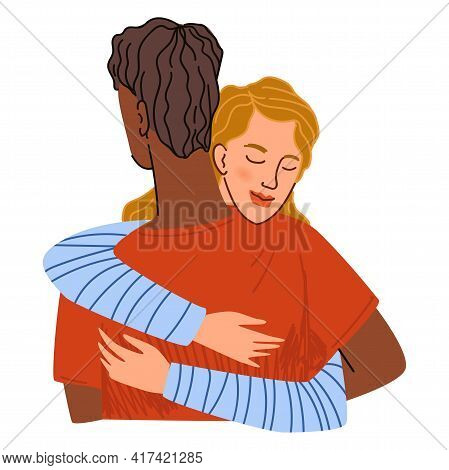 Couple Or Friends Hugging, Embracing Man And Woman