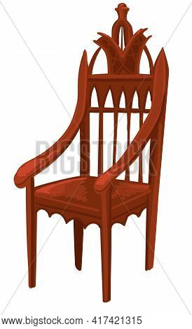 Wooden Chair Or Throne Of King Or Queen Vector