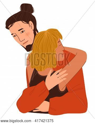 Man And Woman Cuddling, Couple In Love Hugging