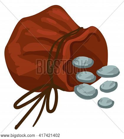 Bag With Thread And Silver Coins, Money In Sack