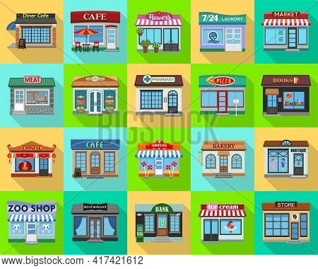 Facade Store Vector Flat Set Icon. Vector Illustration Storefront On White Background. Isolated Flat