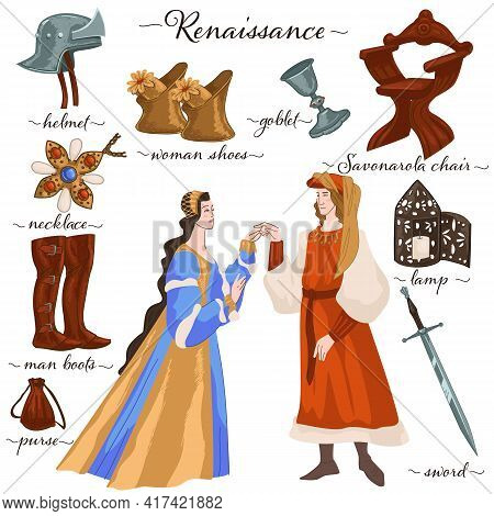 Renaissance Man And Woman In Traditional Clothes