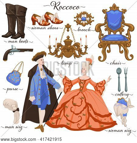 Rococo History Period Clothes And Furniture Vector