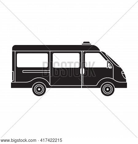 Ambulance Car Vector Black Icon. Vector Illustration Emergency Car On White Background. Isolated Bla