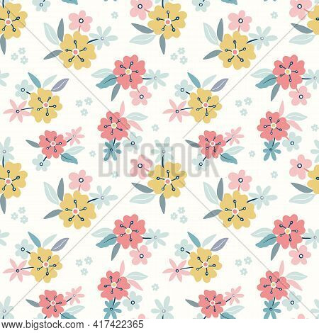 Floral Pattern Background.spring And Summer Vector Seamless Repeat Of Hand Drawn Flowers And Leaves