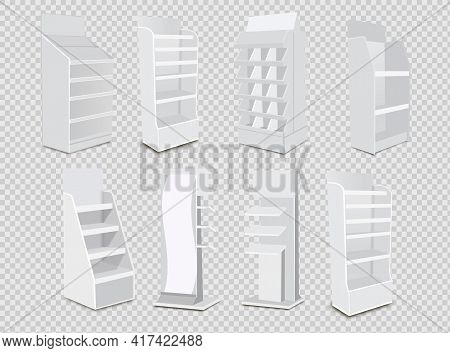 White Long Blank Empty Showcase Displays With Retail Shelves. 3d Products On White Background Isolat