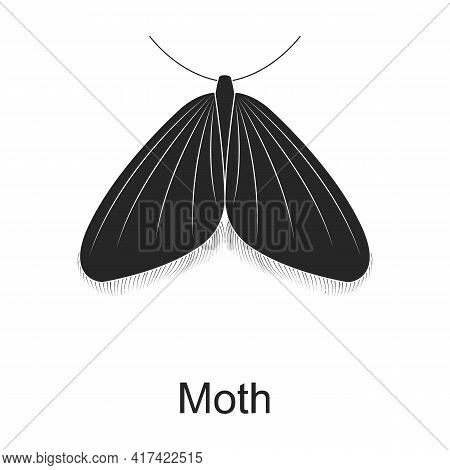 Moth Vector Black Icon. Vector Illustration Pest Insect Moth Butterflay On White Background. Isolate
