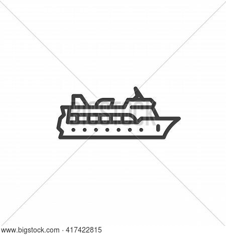 Cruise Ship Line Icon. Linear Style Sign For Mobile Concept And Web Design. Cruise Travel Ship Outli