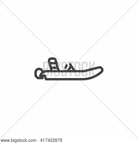 Inflatable Boat Line Icon. Linear Style Sign For Mobile Concept And Web Design. Motor Inflatable Boa