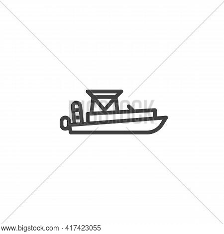 Motor Boat Line Icon. Linear Style Sign For Mobile Concept And Web Design. Rescue Boat Outline Vecto